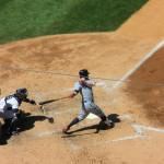 Jason Kipnis von den Cleveland Indians am Schlag beim Baseball-Spiel New York Yankees vs. Indians