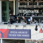 Reporter-Kabine im Baseball-Stadion der New York Yankees