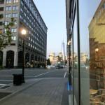 Blick von der Kreuzung Greene Street / Grand Street in Jersey City in Richtung World Trade Center One in New York City