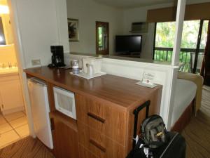"""Kleiner """"Küchenbereich"""" mit Kühlschrank, Wasserkocher und Mikrowelle"""