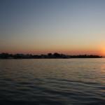 Sonnenuntergang im Hafen von Keramoti