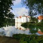 Blick durch Bäume auf das Schloss