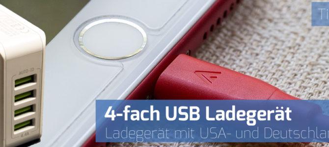 4-fach USB-Ladegerät mit USA- und Deutschland-Stecker